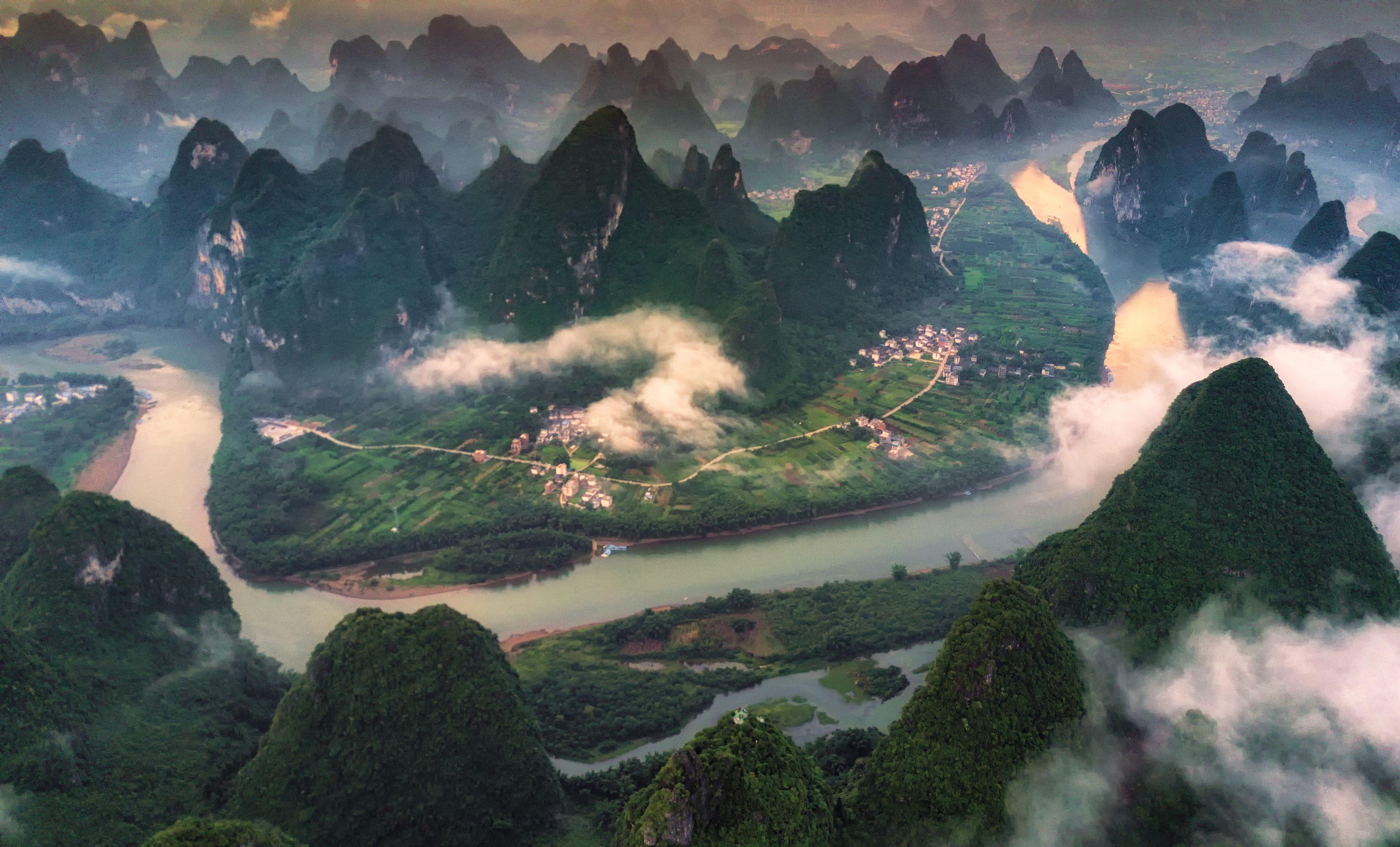 The aerial view at Xianggang hill, Yangshuo, Guilin, Guangxi, China