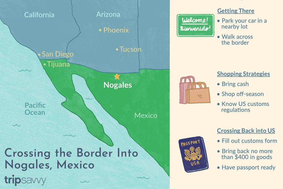Map Of Arizona To Mexico.Crossing The Border Into Nogales Sonora Mexico