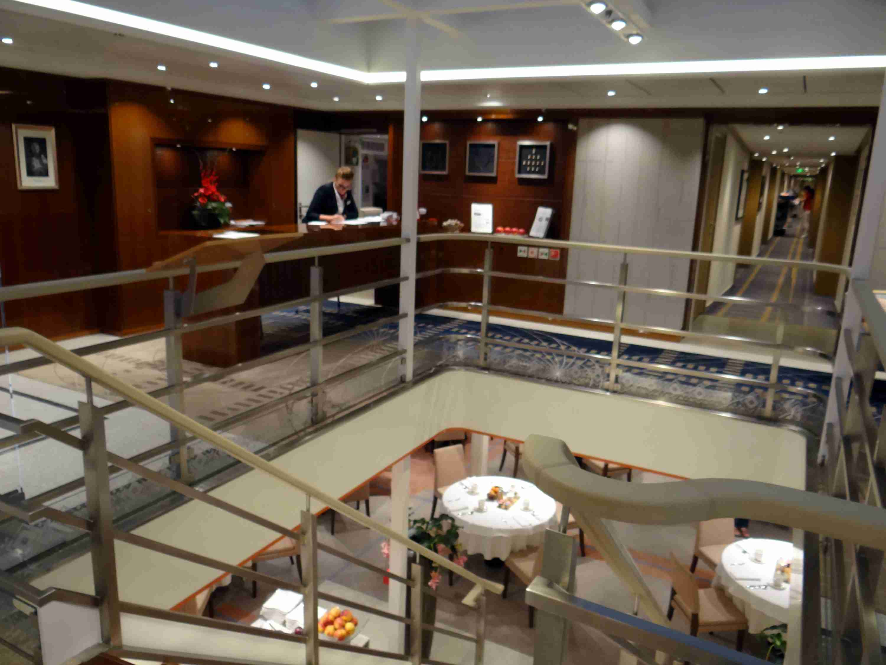 Reception desk and view of dining room on Viking Elbe River cruise ships