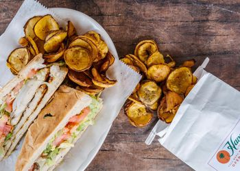 A cuban sandwich and plantain chips from Havana Restaurant