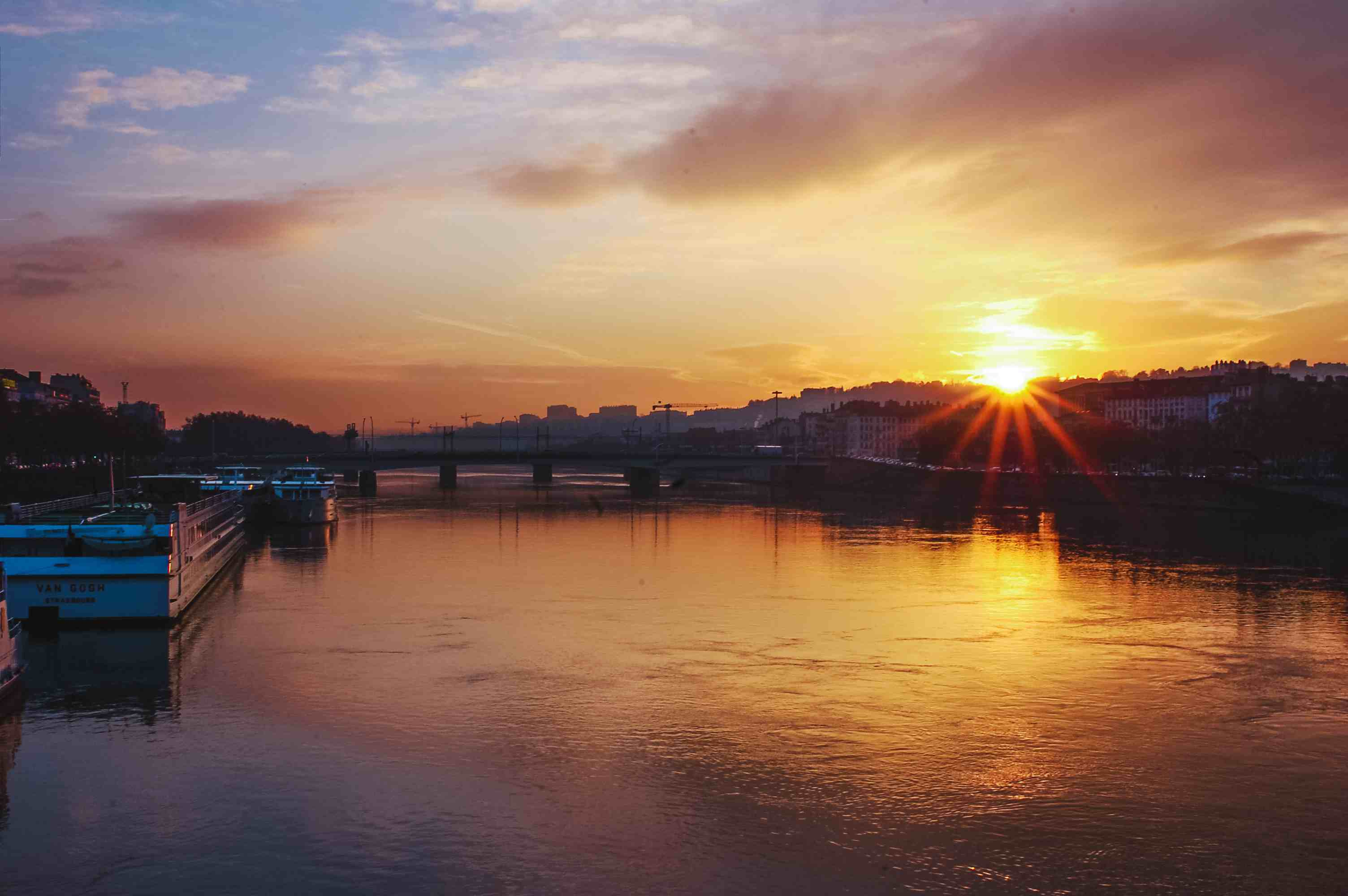Sunset on the river in Lyon