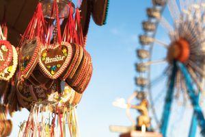octoberfest gingerbread hearts hanging in front of ferris wheel