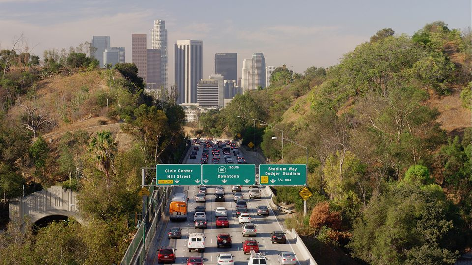 Aerial View Of Traffic Driving To Downtown Los Angeles California United States