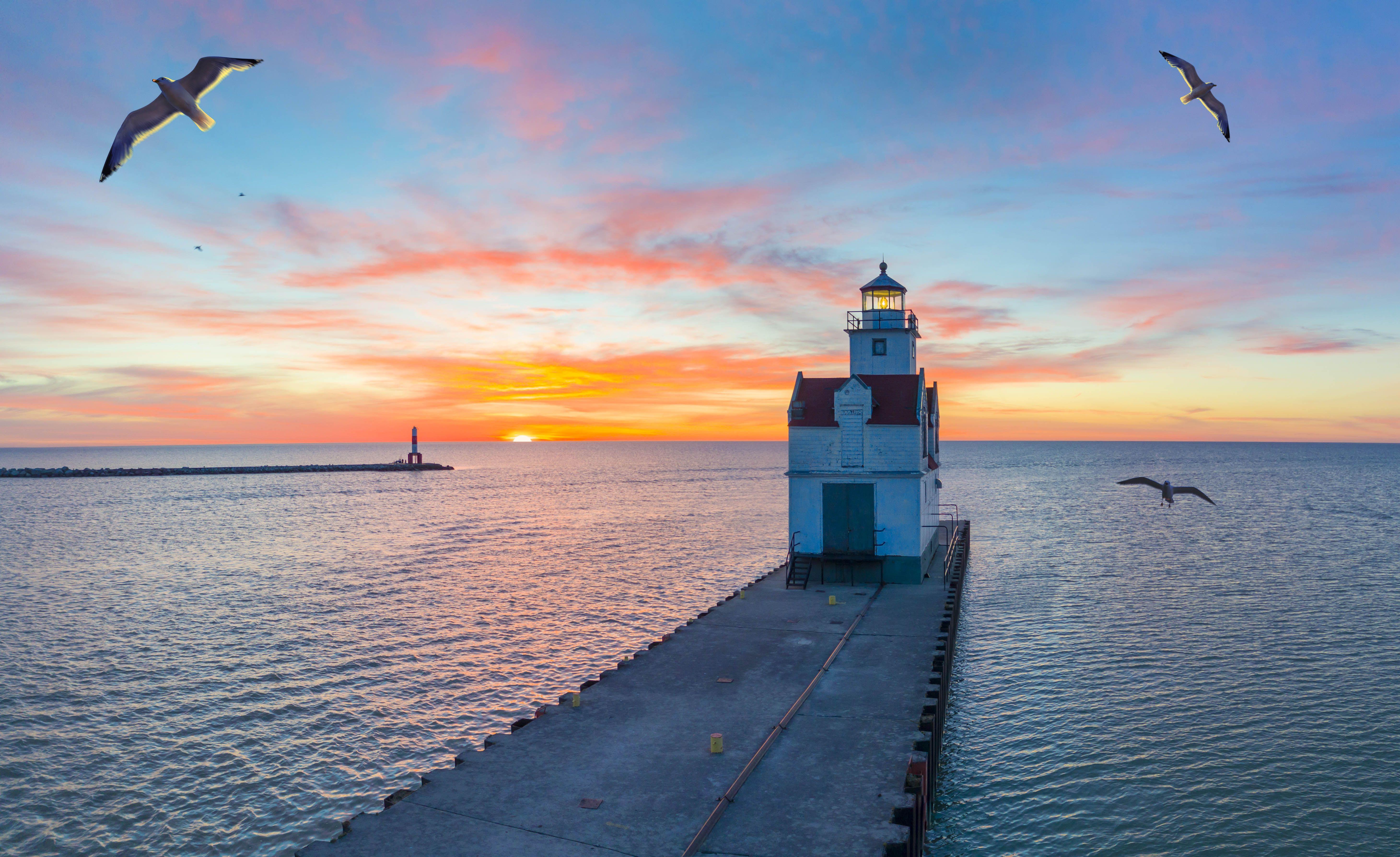 Sunrise over Lake Michigan in Wisconsin