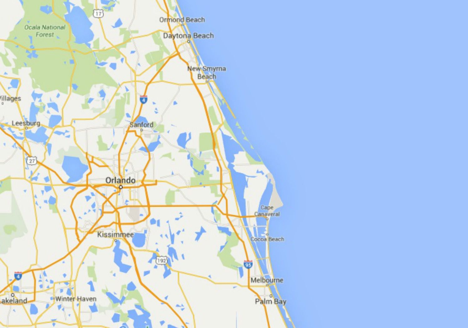 Map Florida East Coast.Maps Of Florida Orlando Tampa Miami Keys And More