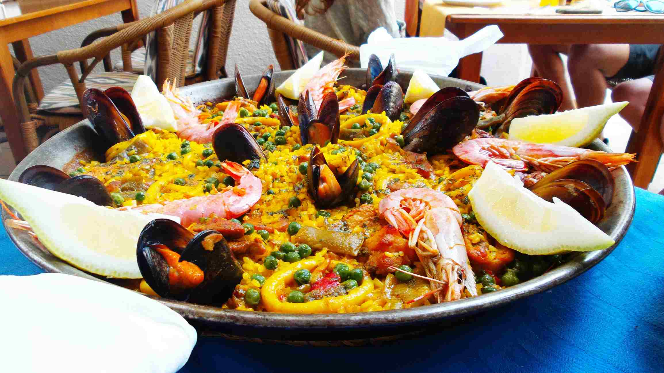 A dish of seafood paella.