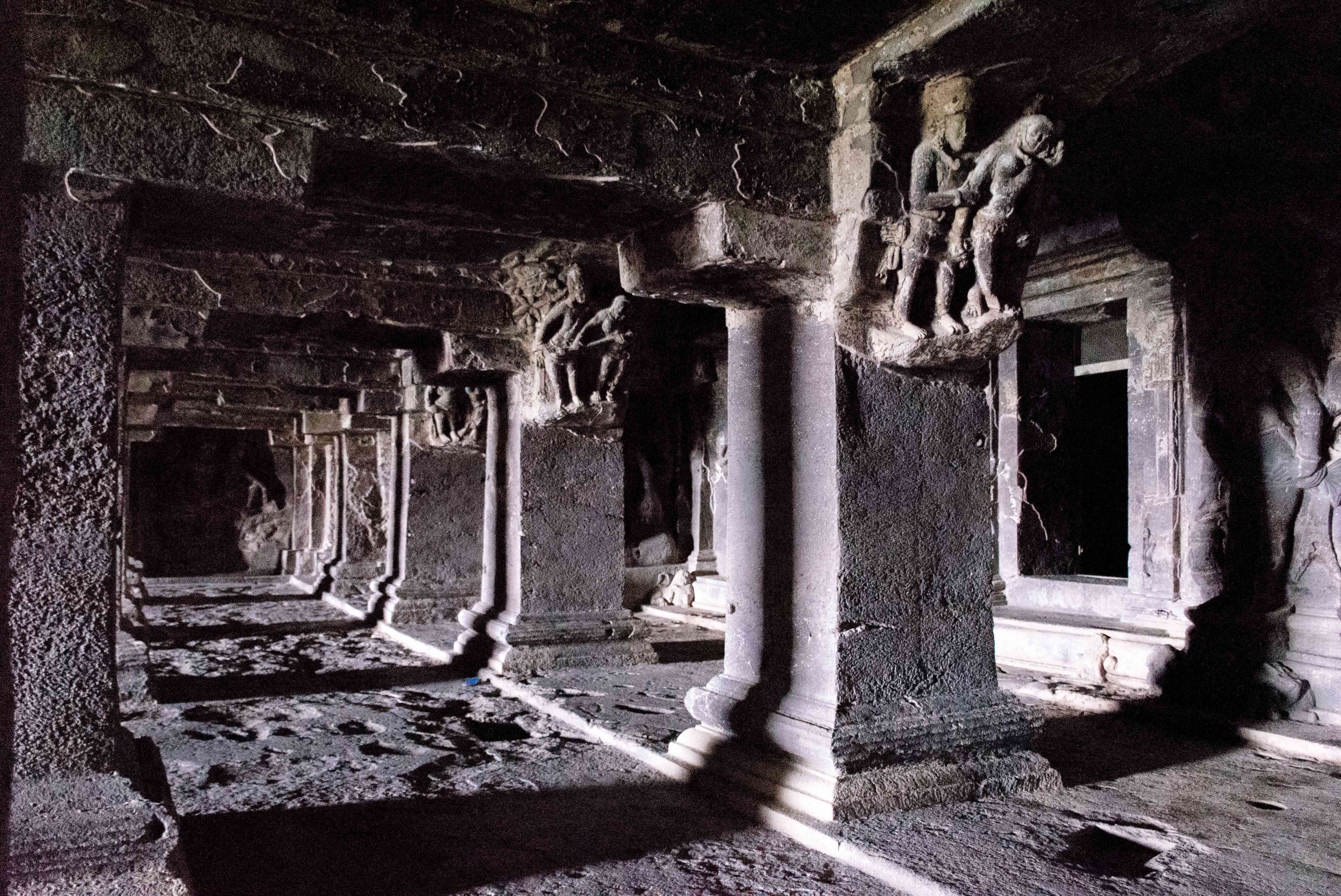 Pillars and pathways in the Ajanta Caves