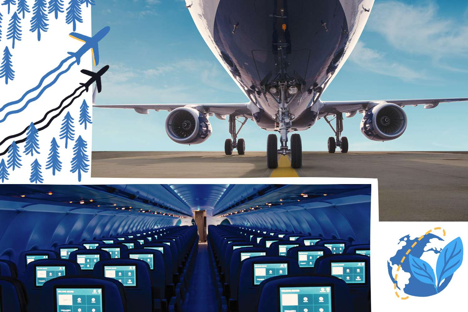 Collage of images and illustrations depicting Jetblue plane's