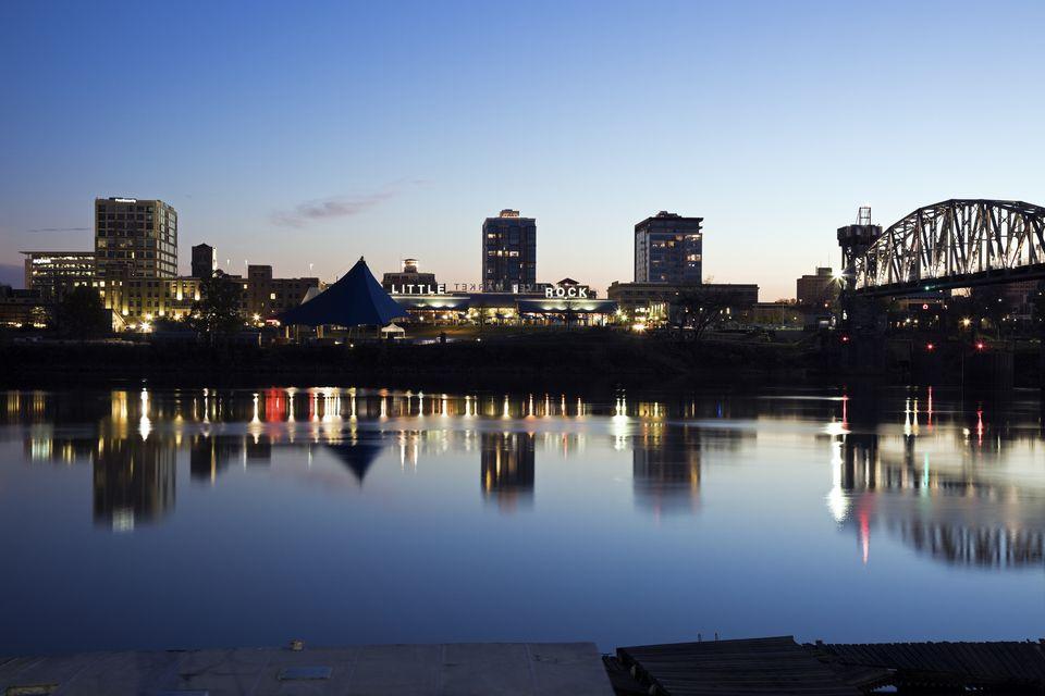 Little Rock, Downtown skyline illuminated at night