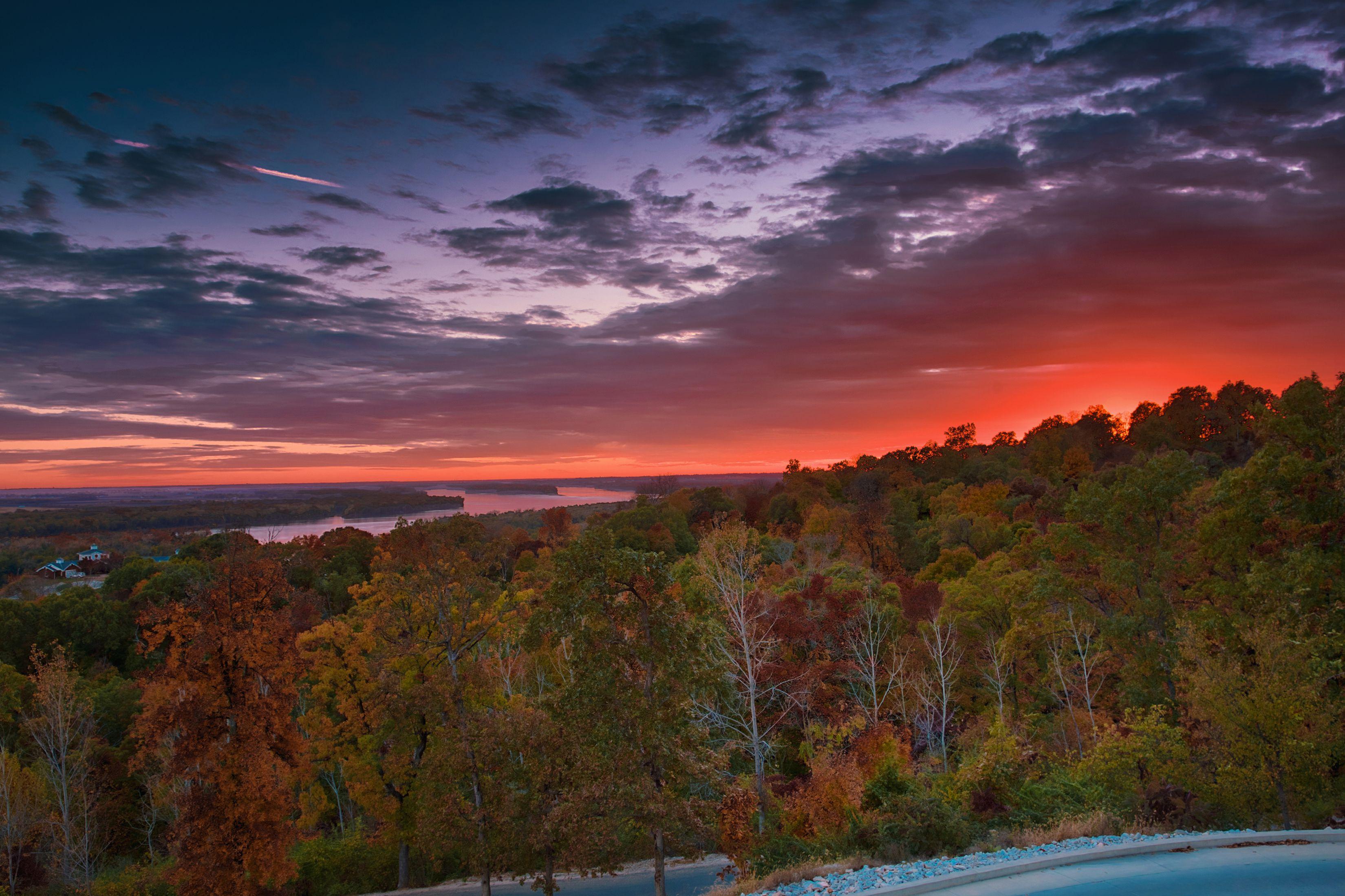 Colorful sunset over Missouri river in Alton, Illinois