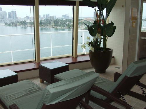 The view from the Norwegian Pearl South Pacific Spa and Beauty Salon