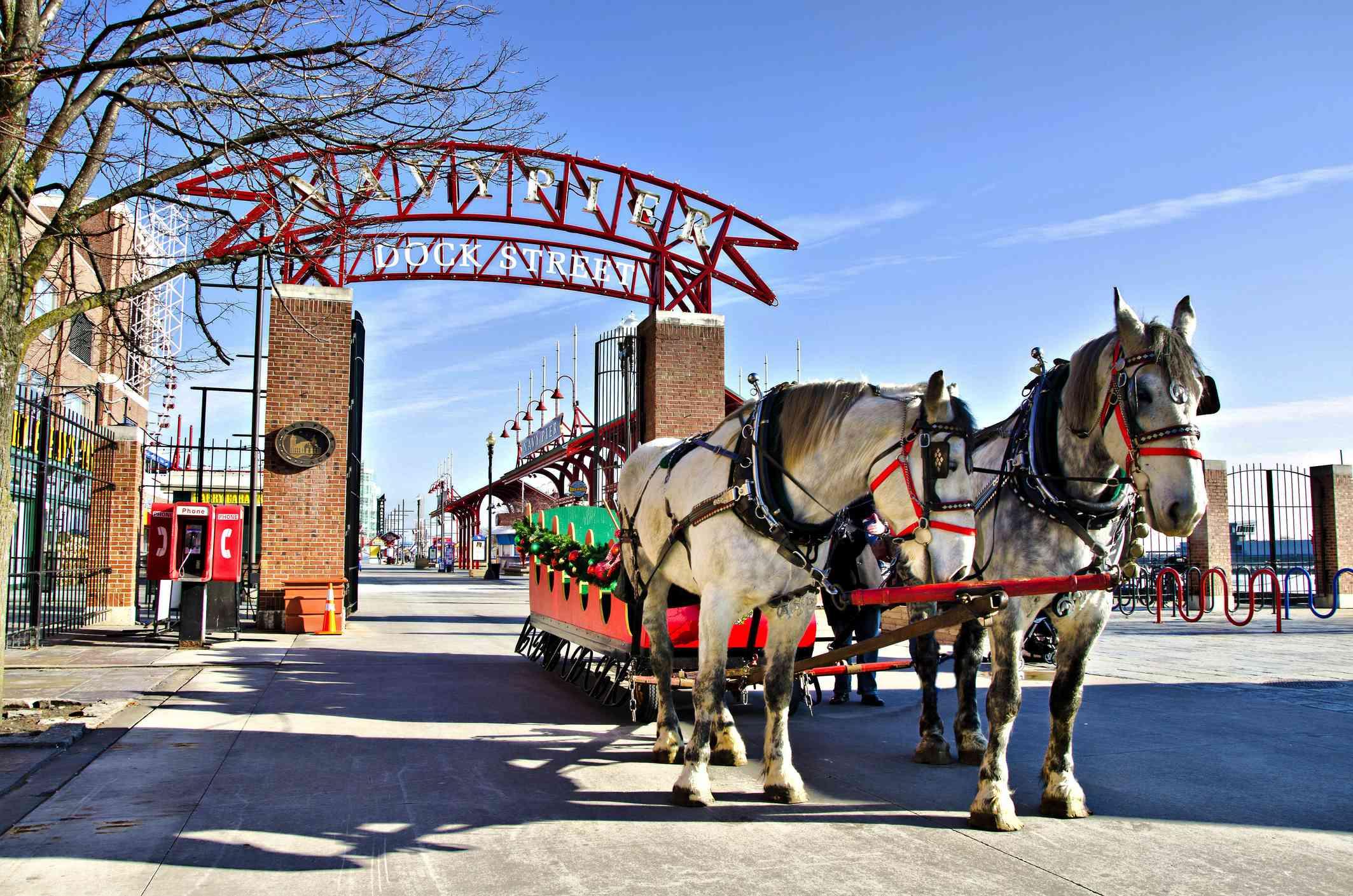 Navy Pier Christmas sleigh