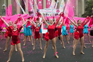 Dancers performing at the National Cherry Blossom Festival