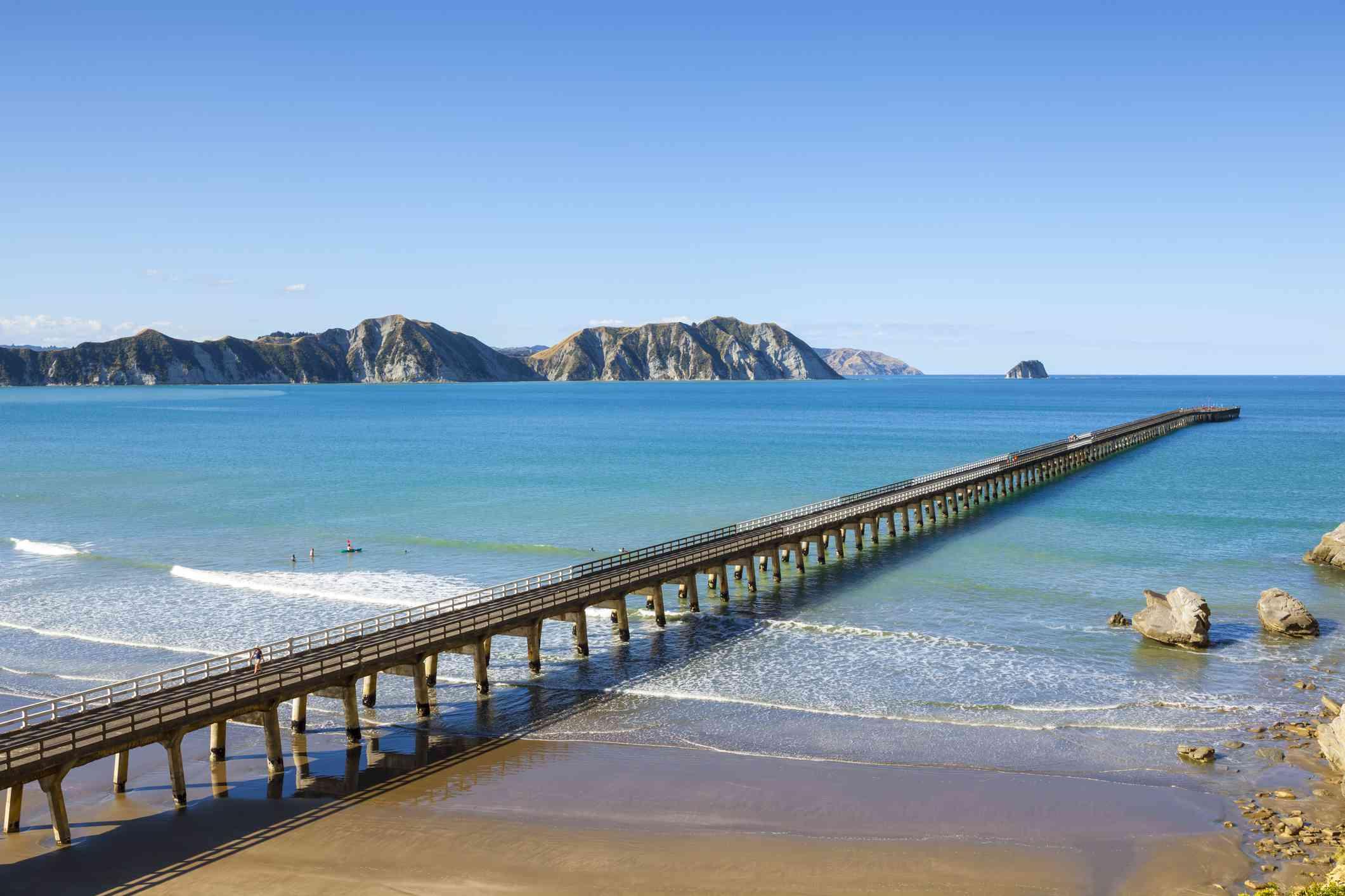 Tolaga Bay Wharf near Gisborne of Eastlands, New Zealand.