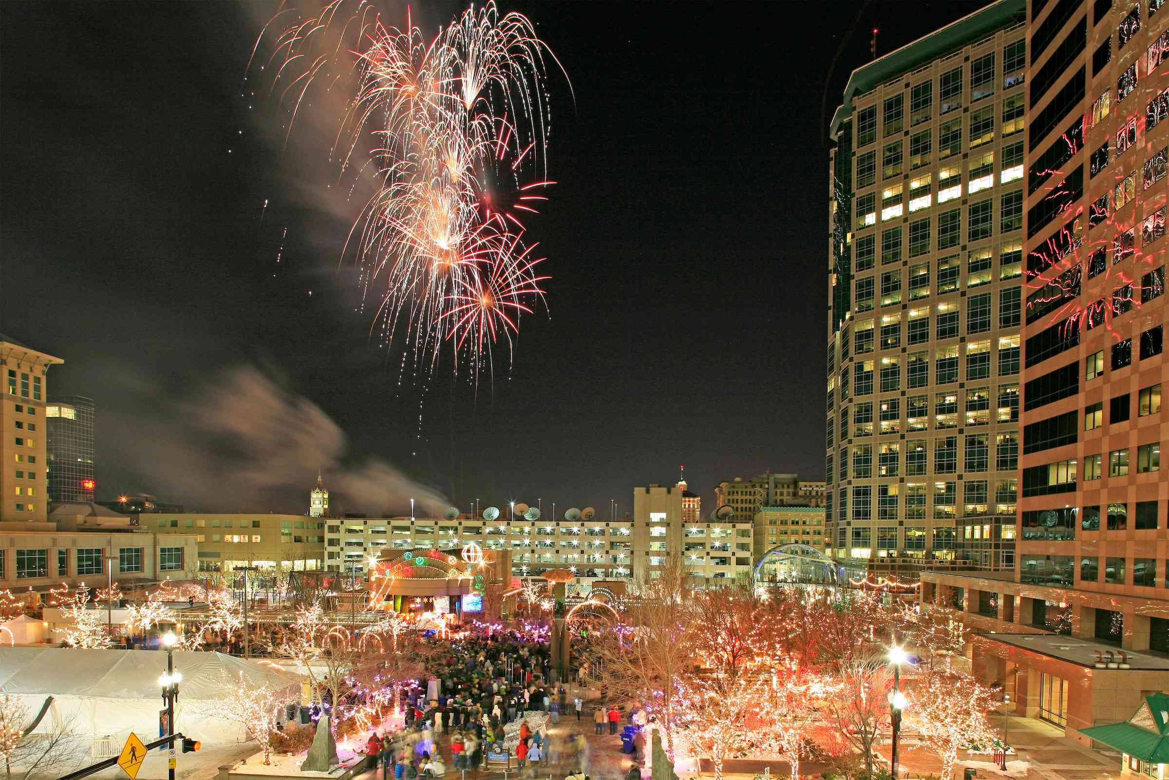 Salt Lake City during New Years Eve with fireworks