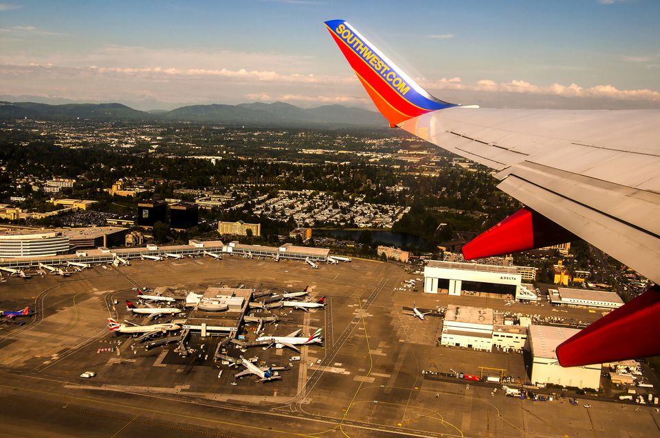 southwest airline airplane wing