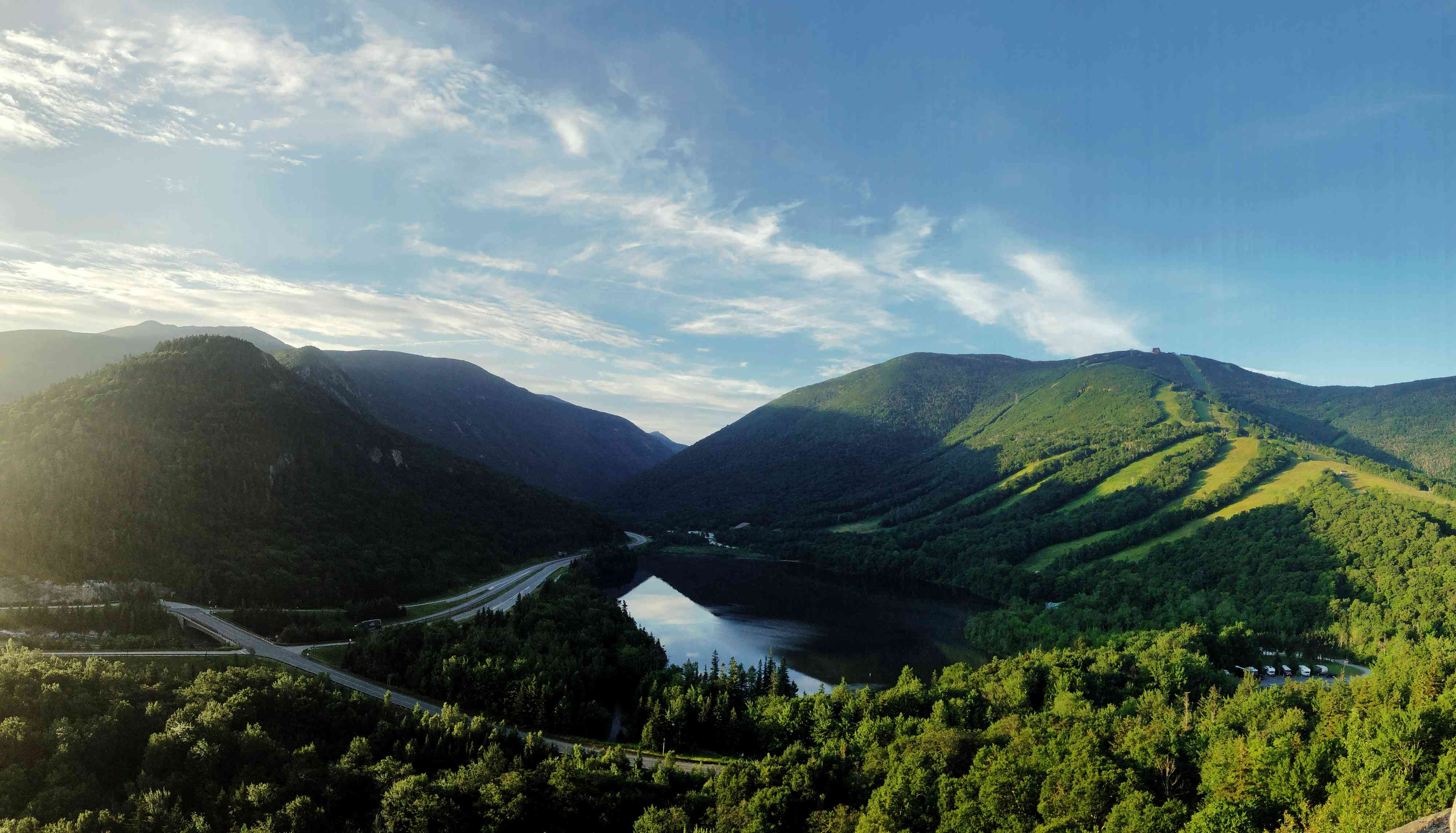 A view of Franconia Notch State Park from Artist's Bluff lookout in Franconia, New Hampshire USA during summer
