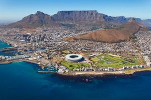 aerial shot of Cape Town, South Africa