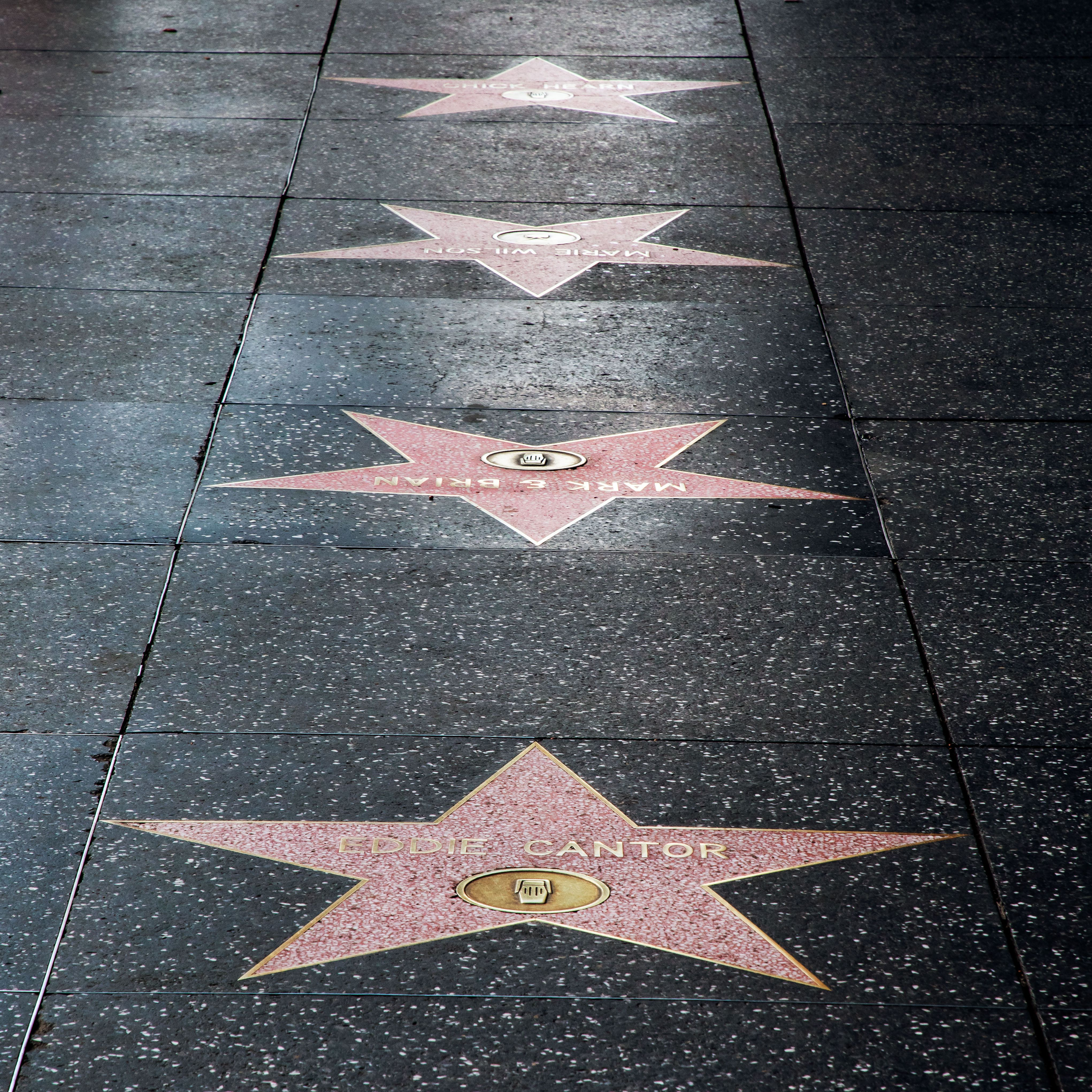 Line of stars on the Hollywood Walk of Fame