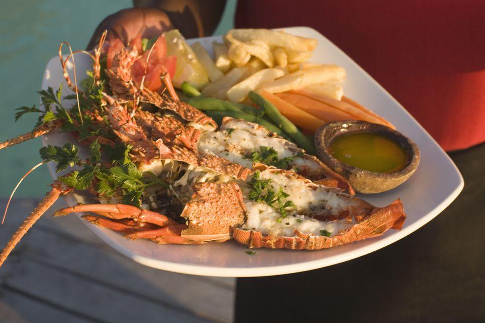 Crayfish dinner, Mozambique