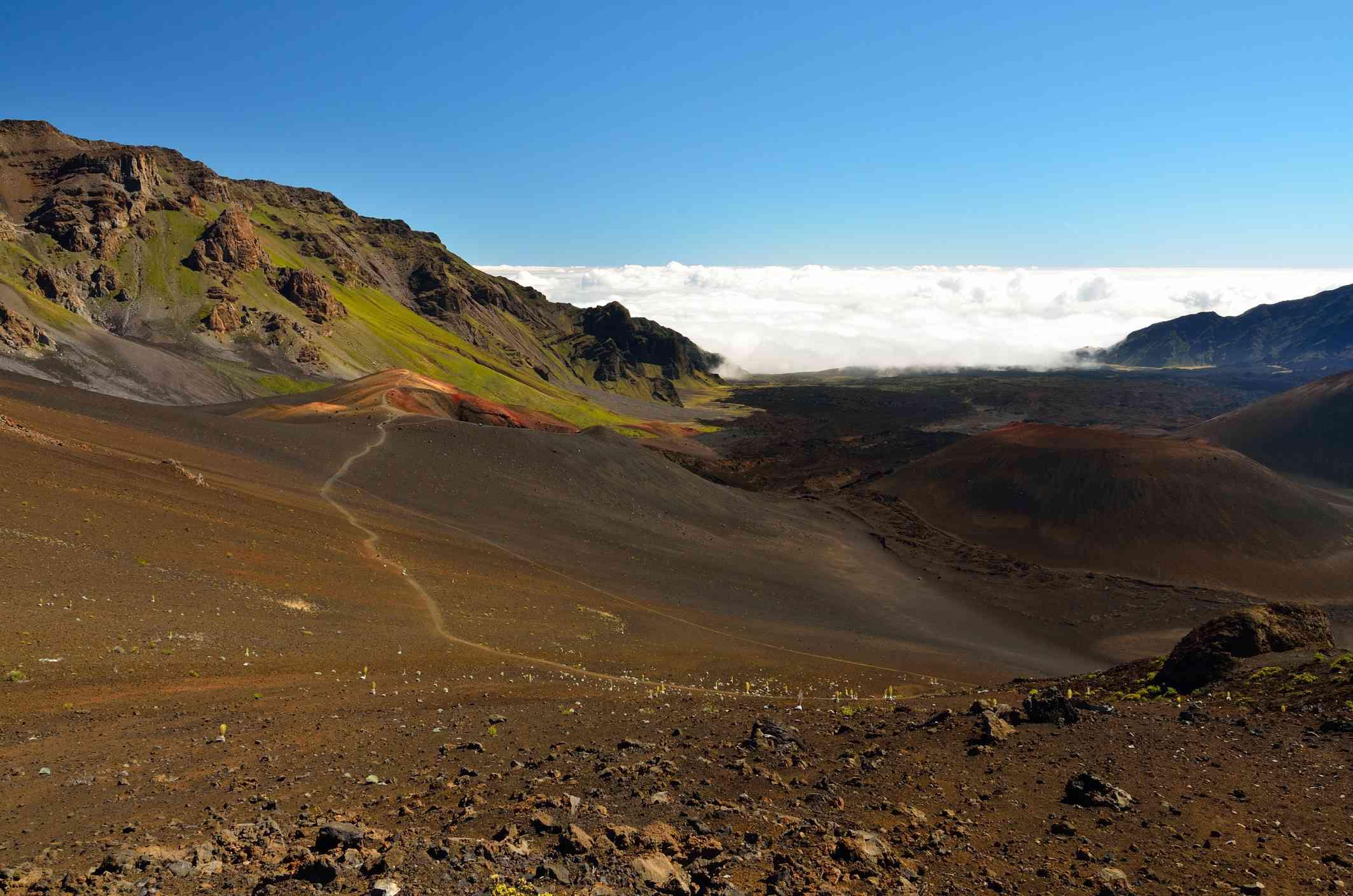 A section of Sliding Sands Trail inside Haleakala Crater