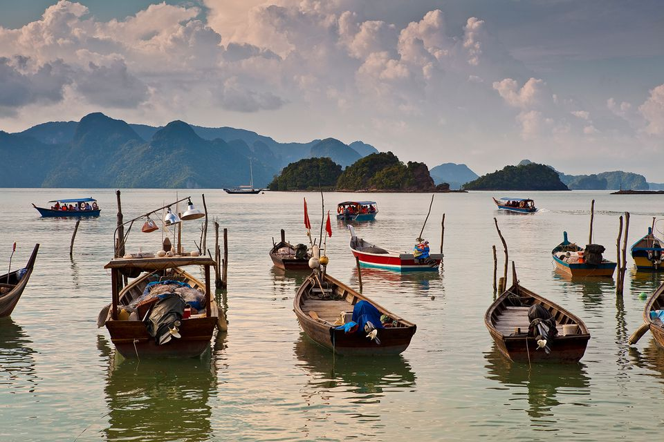 Boats on the waters of Langkawi, Malaysia