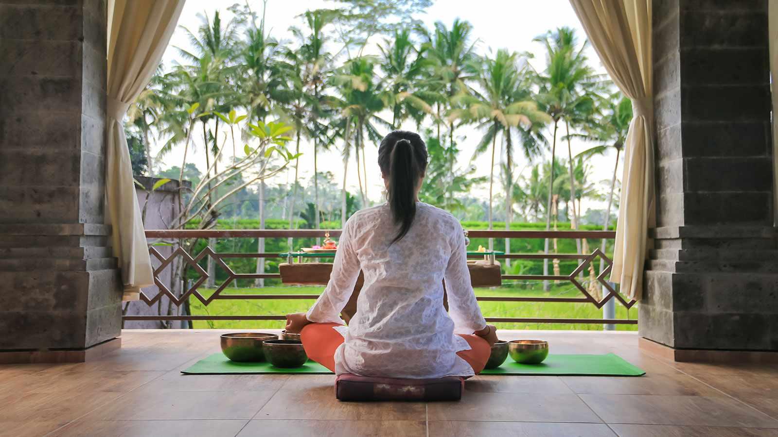 Woman at Bali's Om Ham yoga retreat