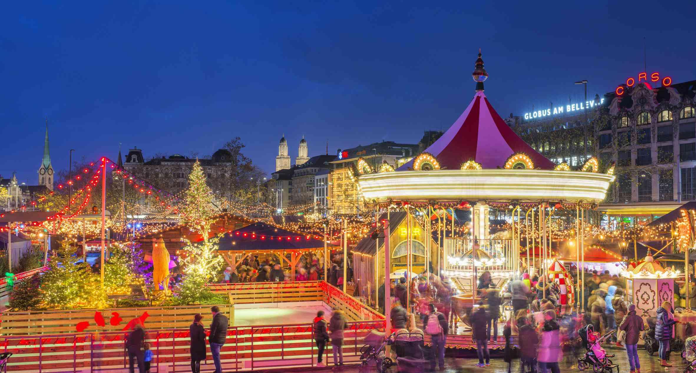 Zurich Christmas Market at Bellevue and Sechseläutenplatz