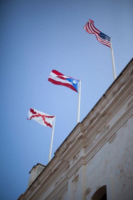 Puerto Rico And American Flag