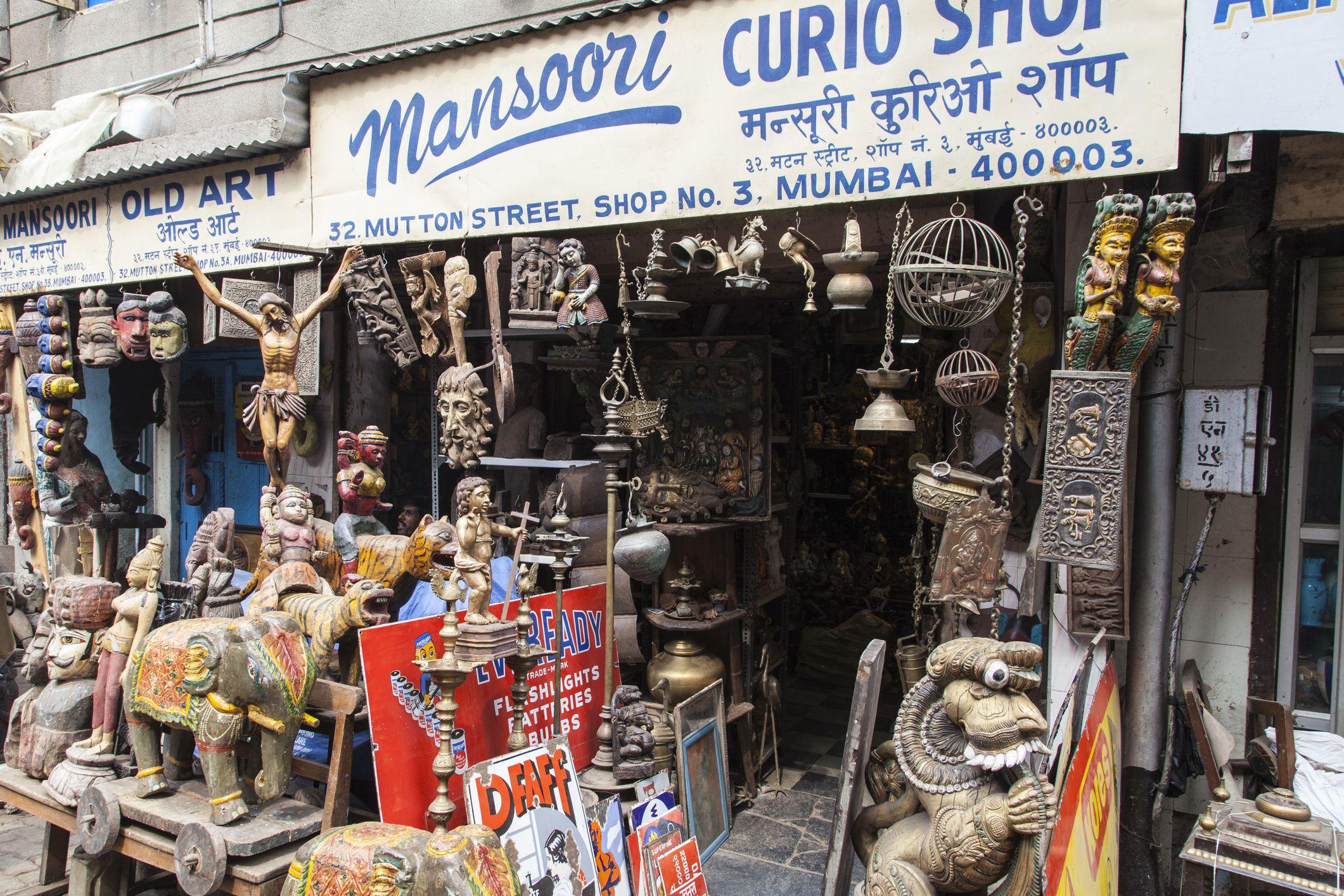 Chor Bazaar Handicrafts and old wares in an overflowing shop in historic Mutton Street, Chor Bazaar.