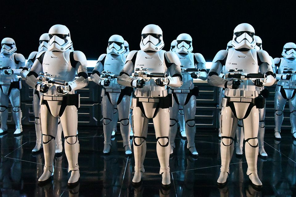 Storm Troopers lined up at Star Wars Galaxy's Edge in Disney's Hollywood Studio