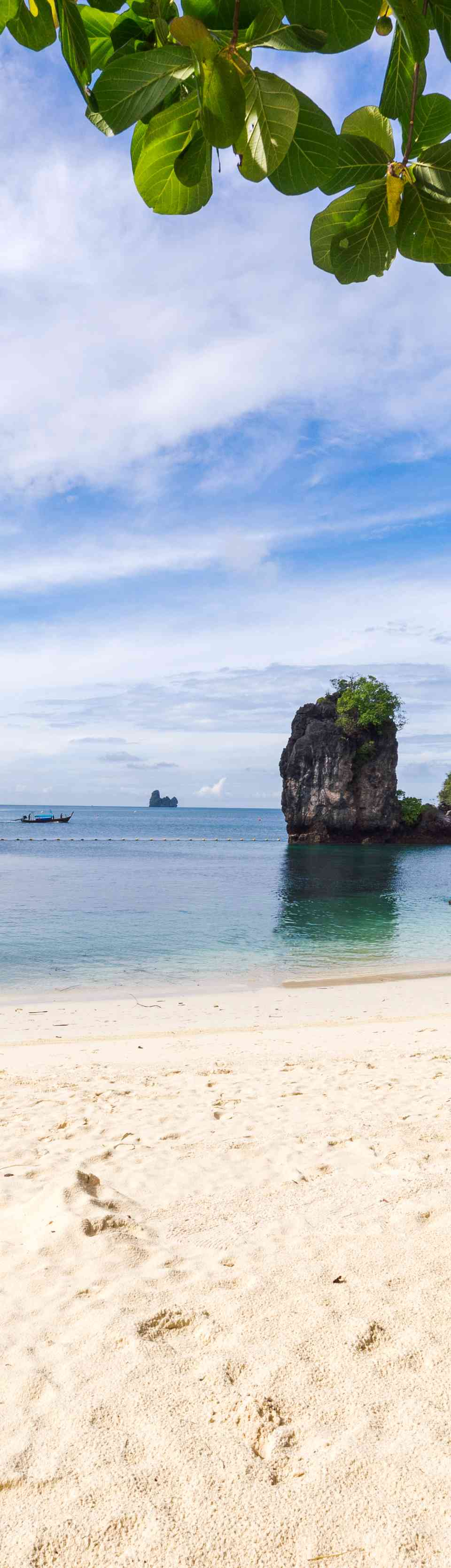 Blue water and white sand at Railay, Thailand