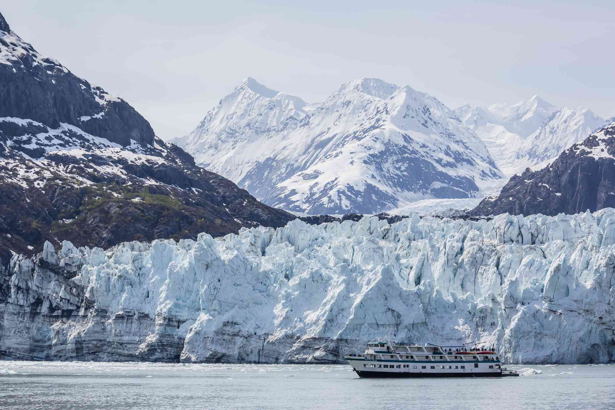A tourist ship explores the Lamplugh Glacier