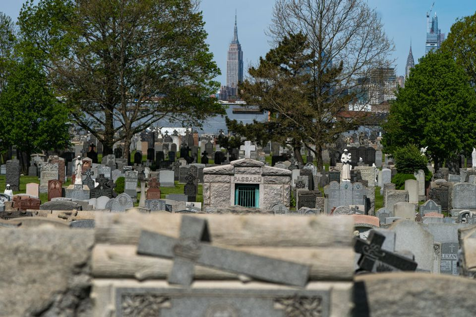 Calvary Cemetery in Queens with Empire State Building in background