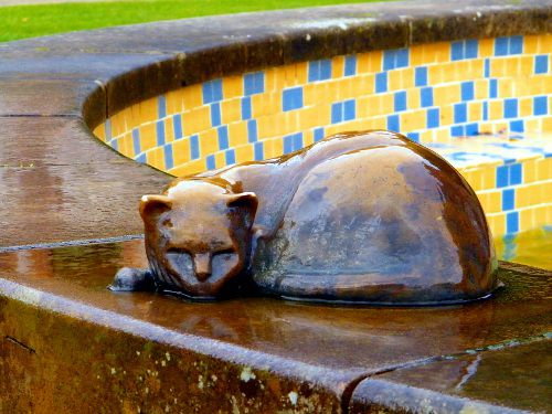 Bronze sleeping cat sculpture on the edge of a fountain