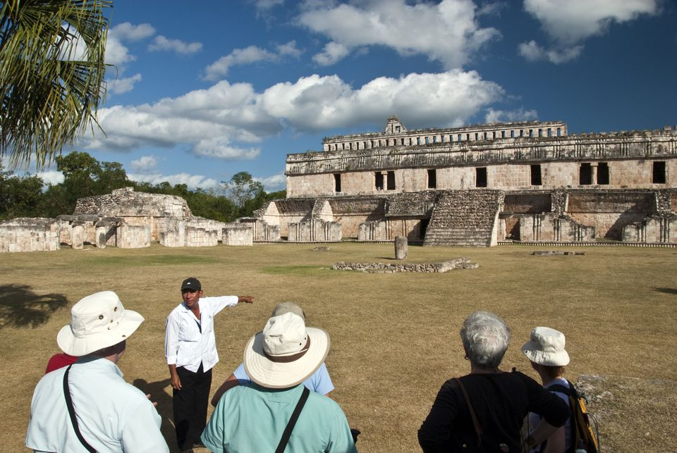 Tour guide, Mayan ruins, Uxmal, Mexico