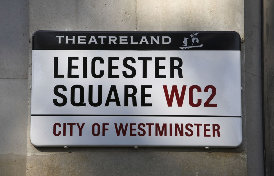 A street sign for Leicester Square