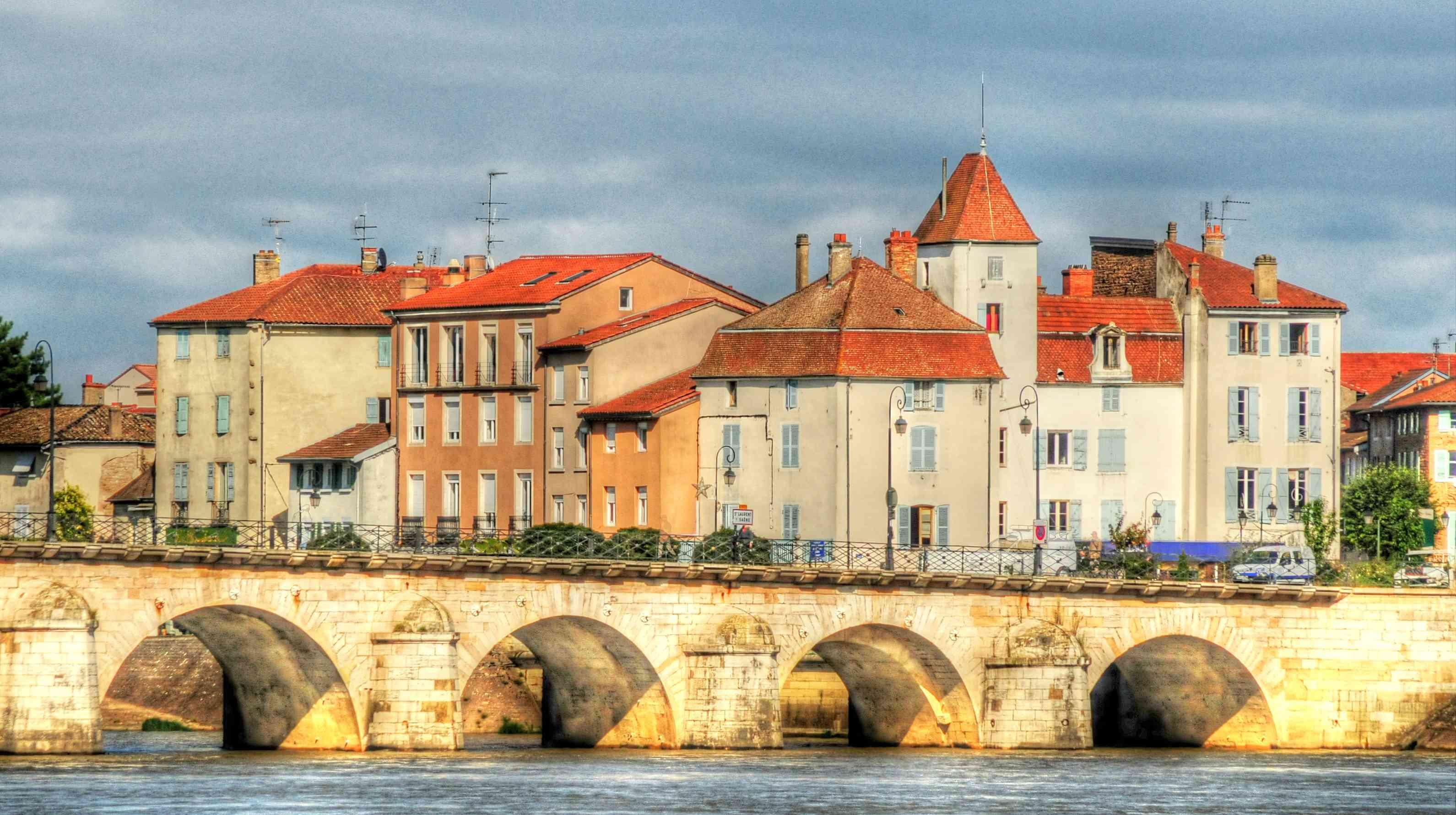 Mâcon, France, bridge over river Saône, south of Burgundy
