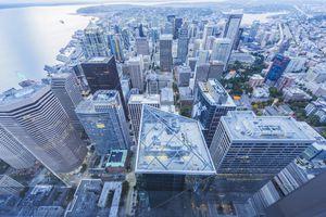 Aerial View of Seattle coastal skyline,Washington State,USA