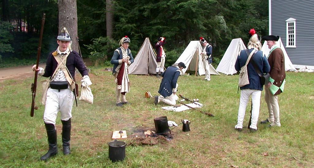 Revolutionary War reenactors and their camp at Old Sturbridge Village