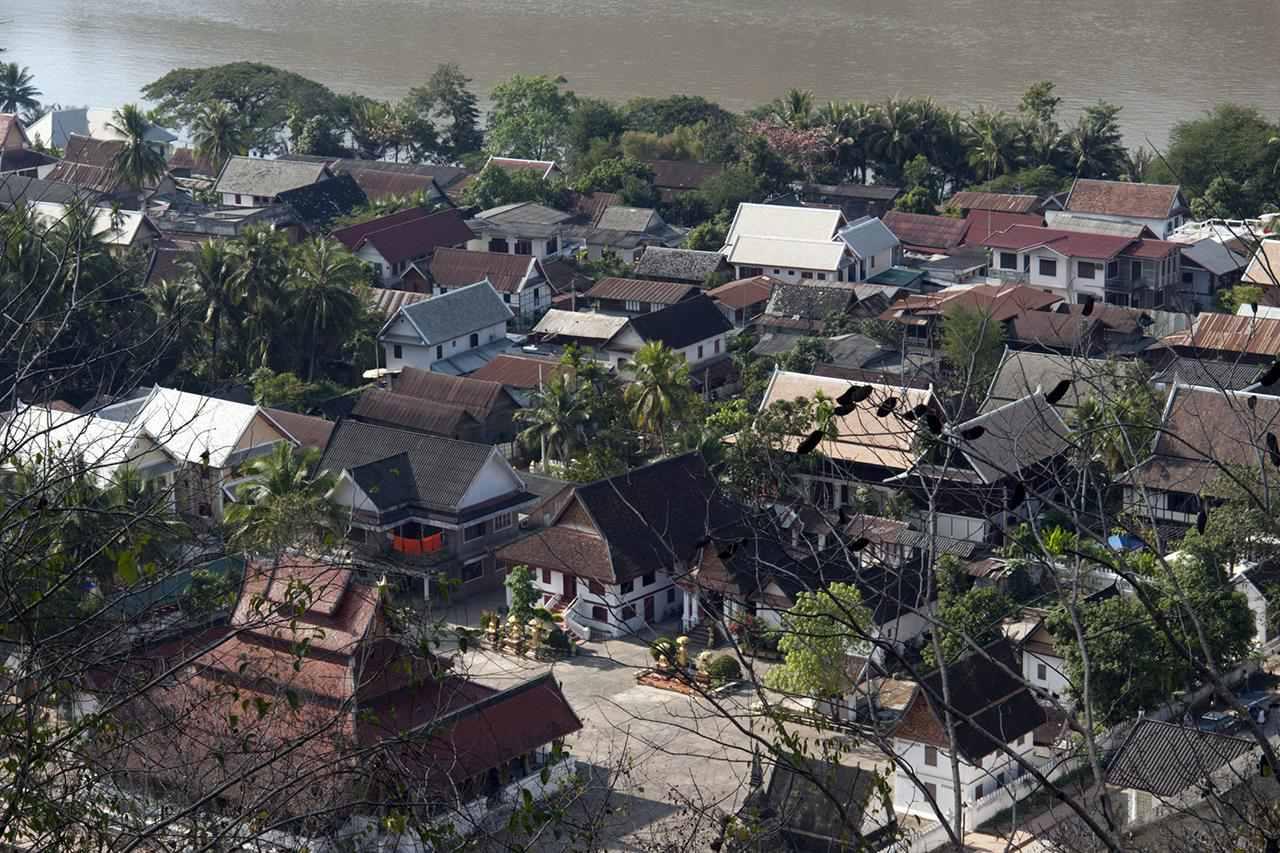 El norte de Laos, Luang Prabang (Luang Phabang), vista de la ciudad y el río Mekong desde el monte Phou Si (Monte Phu Si)