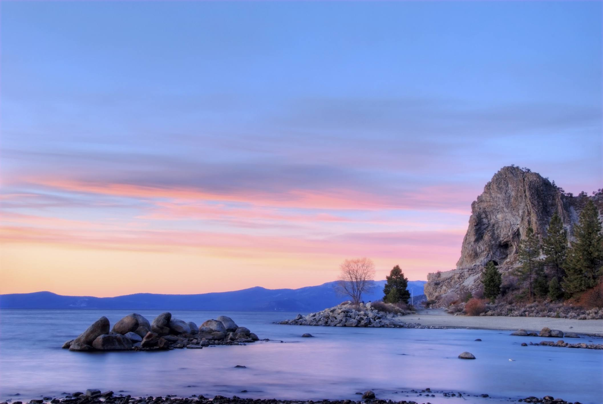 Cave Rock at sunset in Lake Tahoe, Nevada.