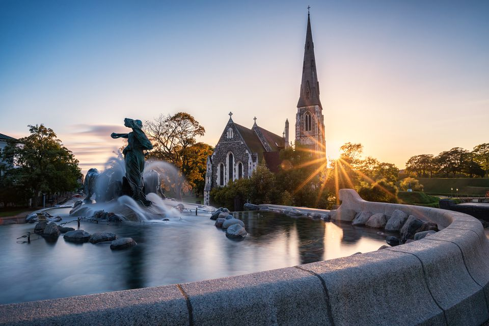 Gefion Fountain and St Alban's Church, Copenhagen, Denmark