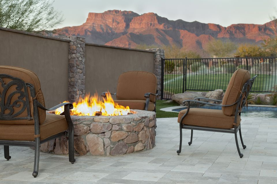Luxury Backyard Fireplace