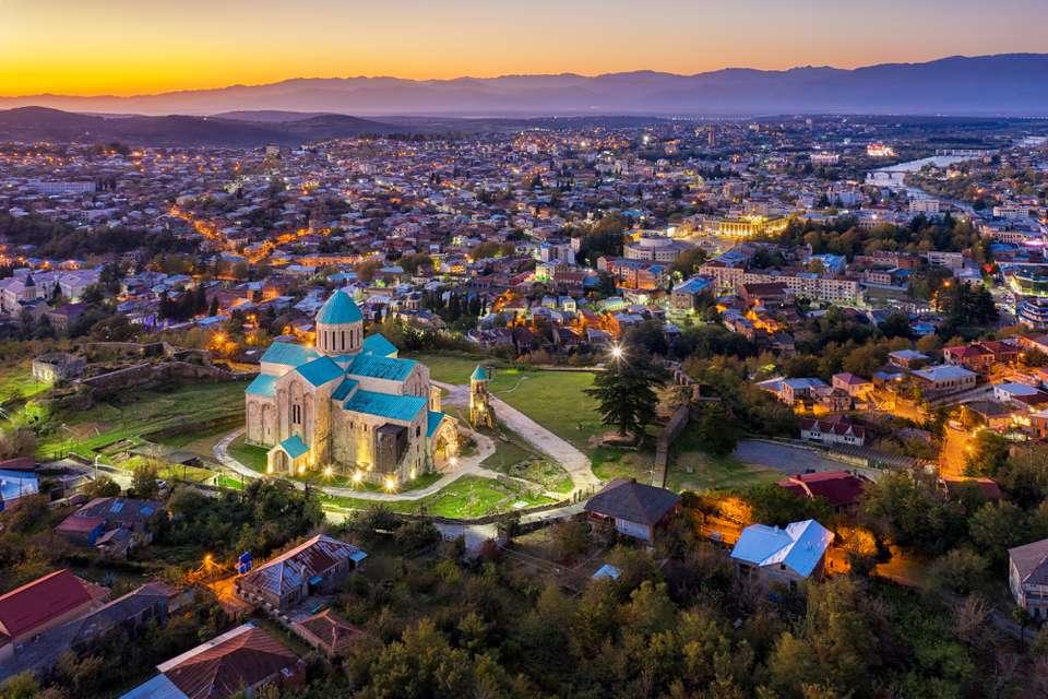 Beautiful Aerial view of Bagrati Cathedral in Kutaisi city in Georgia.