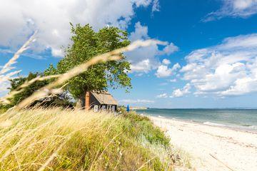 House at Baltic Sea beach, Rytsebaek, Mon island, Denmark
