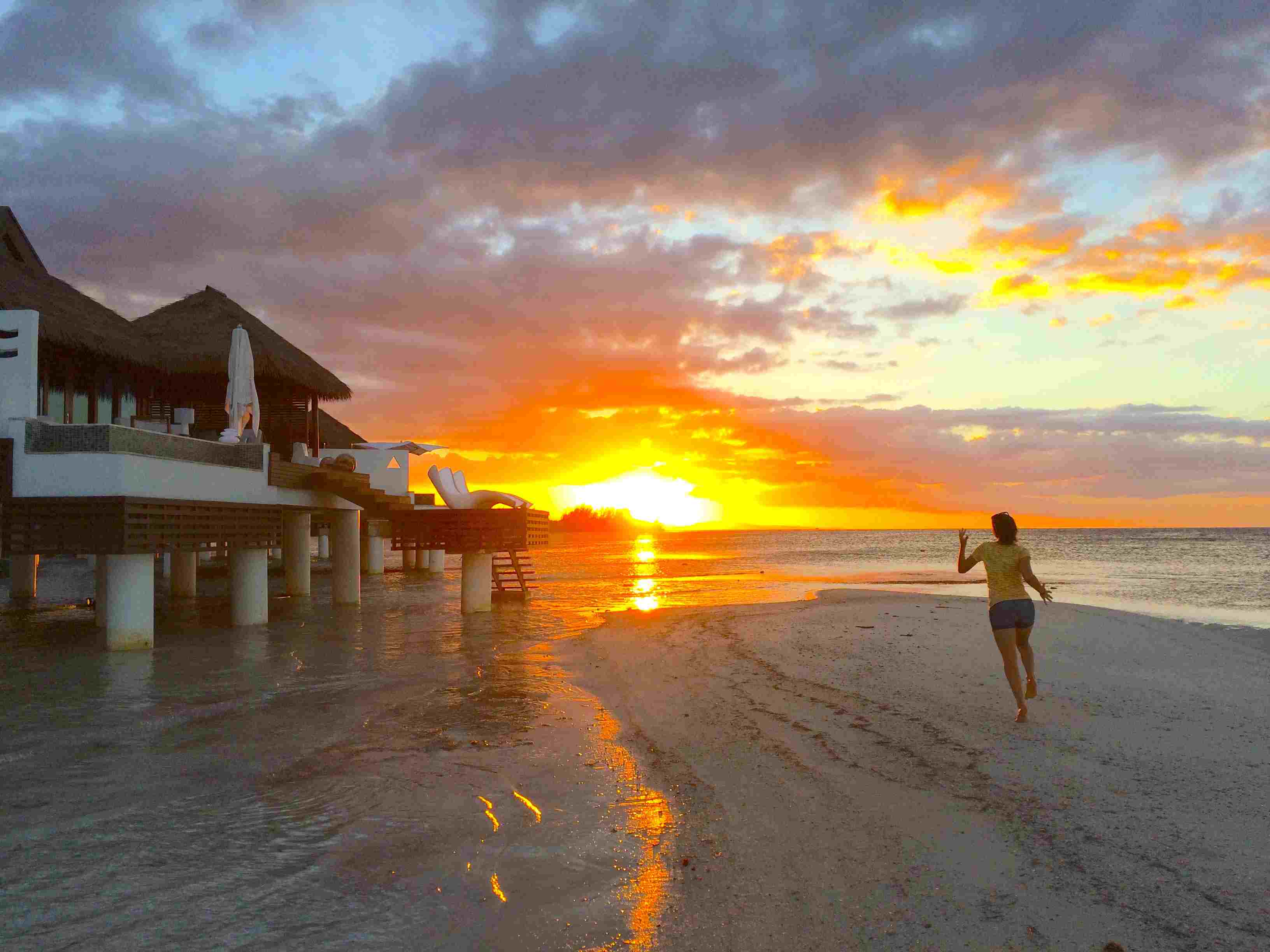 Sunset at Sandals overwater villas