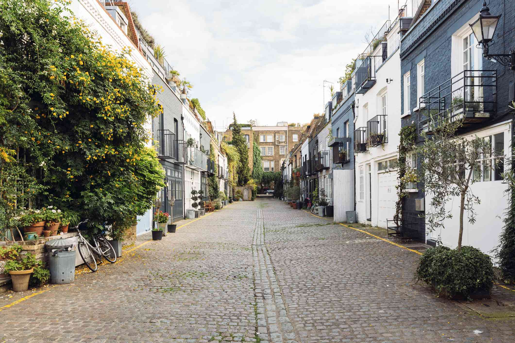 Calm street with mews houses in Notting Hill, London, Greater London, UK