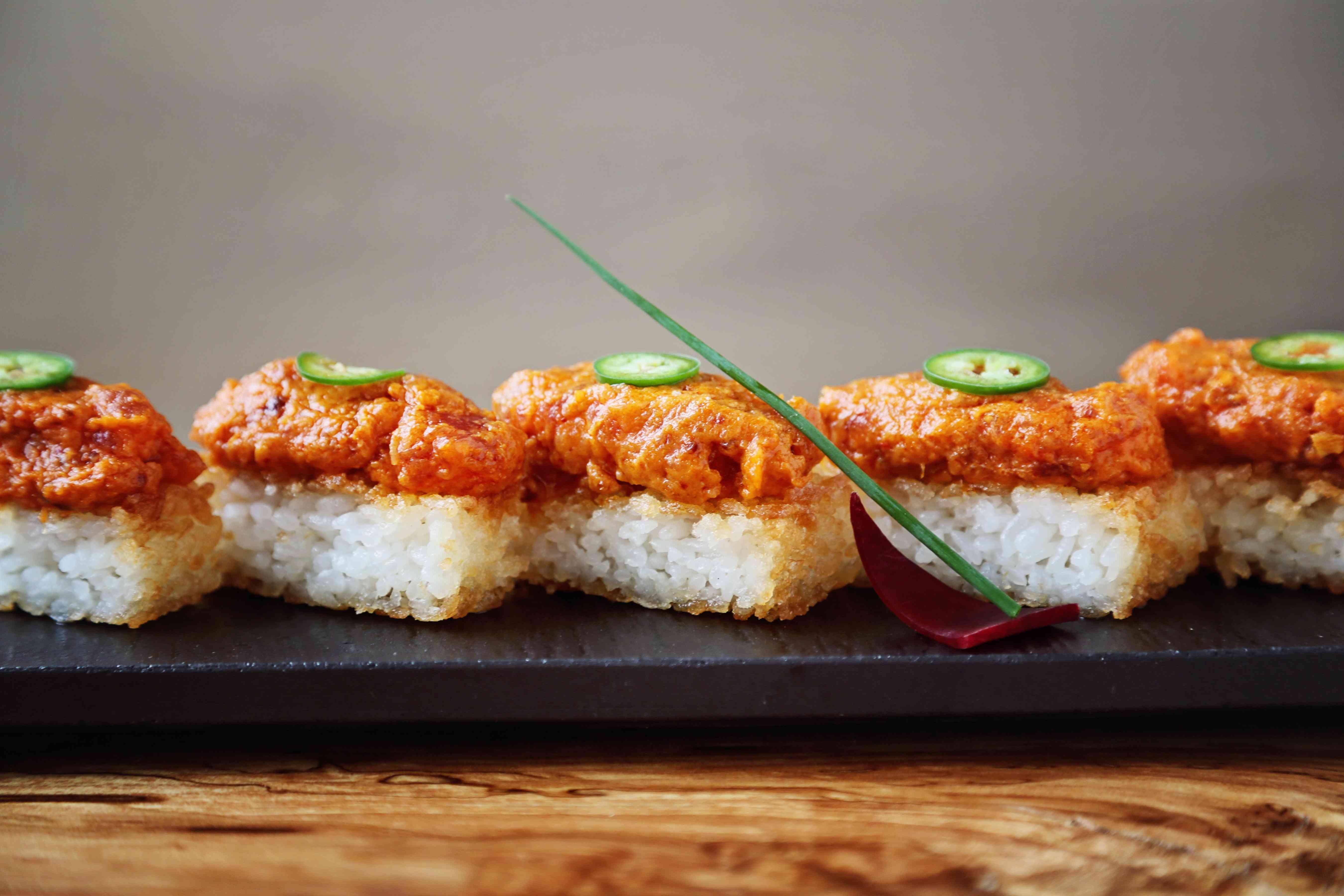 Spicy tuna on crispy rice at Umi