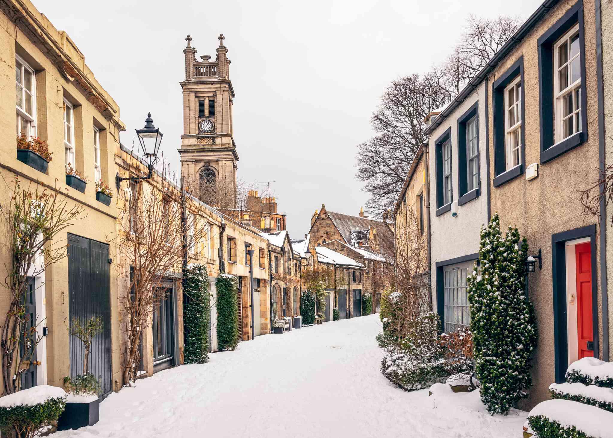 Traditional winter side street in Stockbridge, Edinburgh